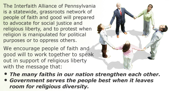 Welcome from the Interfaith Alliance of Pennsylvania